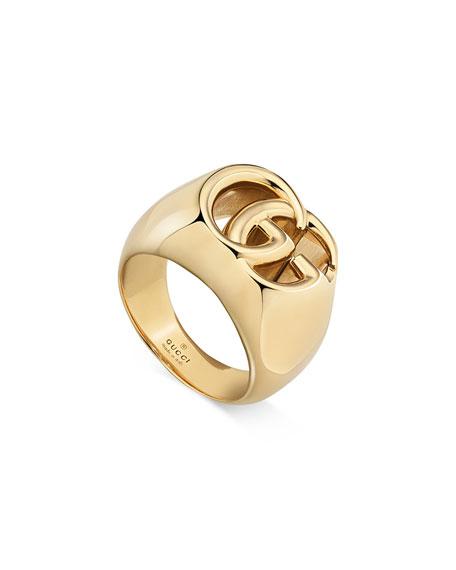 Gucci Men's 18k Gold GG Running Ring, Size