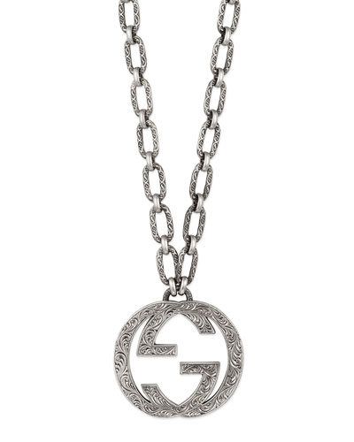 Men's Silver Interlocking G Pendant Necklace