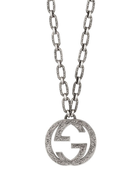 83c8417636c2a0 Gucci Men's Silver Interlocking G Pendant Necklace