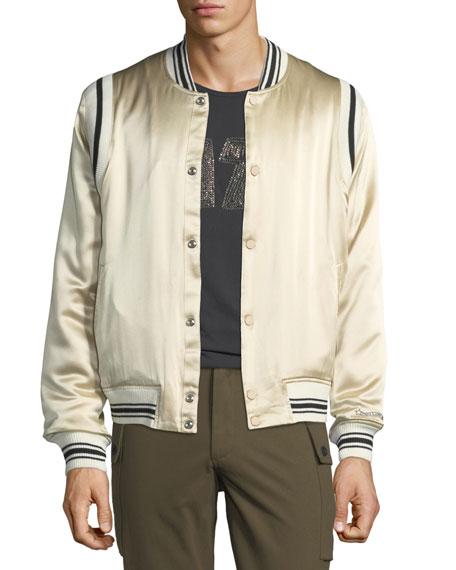 OVADIA & SONS Men'S Ball Striped-Trim Silk Bomber Jacket in Gray