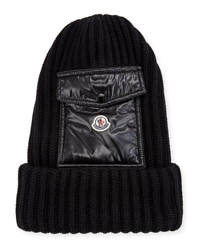 Men's Ribbed Beanie Hat w/ Flap Pocket