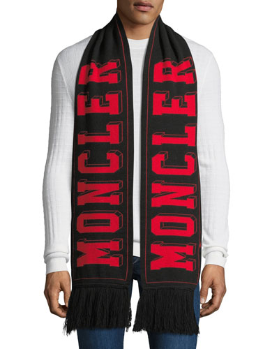 Men's Tricot Wool Logo Scarf w/ Fringe