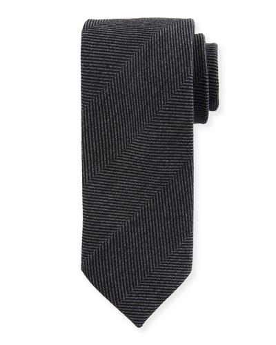 Tonal Chevron Wool-Silk Tie