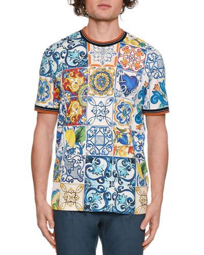 Men's Tile Print Crewneck T-Shirt