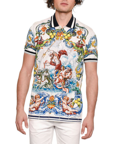Men's Maiolica Tile-Print Polo Shirt