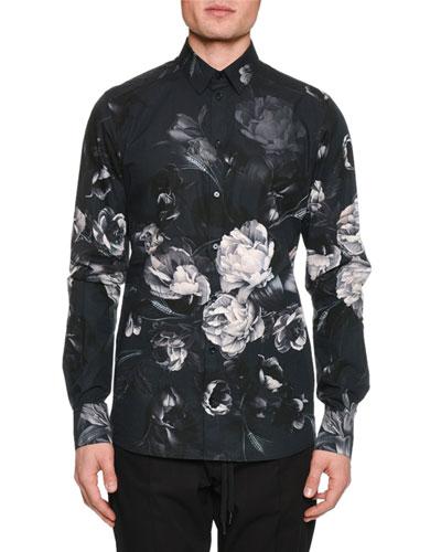 Men's Button-Down Long-Sleeve Floral-Print Shirt