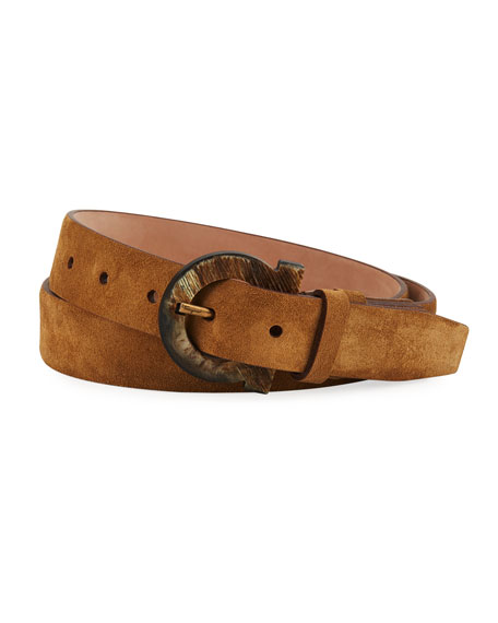 Salvatore Ferragamo Men's Gancio Horn-Buckle Suede Belt