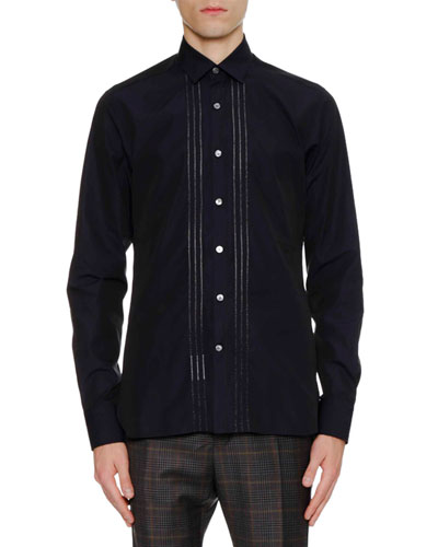Men's Slim-Fit Sport Shirt with Bicolor Plastron
