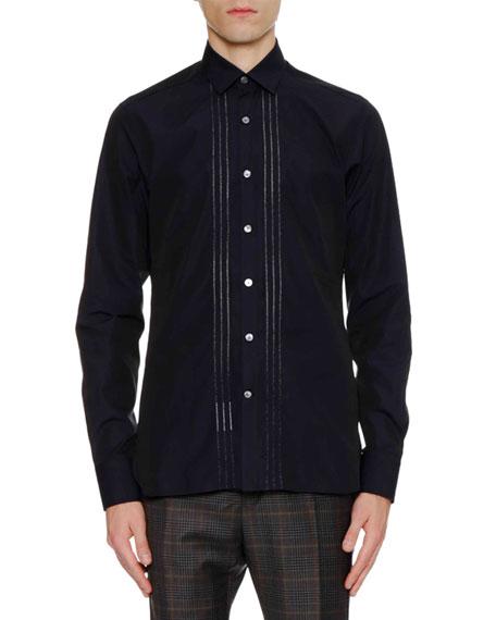 Men's Slim-Fit Sport Shirt with Bicolor Plastron