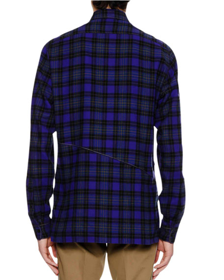 Men's Plaid Seam-Detail Shirt