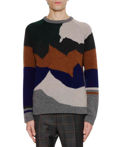 Men's Landscape Intarsia Crewneck Sweater