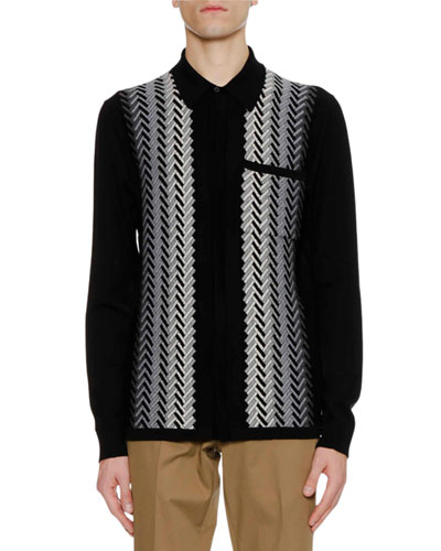 Men's Fading Chevron Jacquard Knit Wool Sweater Shirt