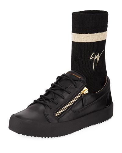 Men's Double-Zip Low-Top Sock Sneakers