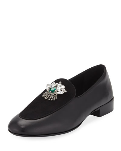 Men's Leather/Suede Dress Loafer with Swarovski® Crystal Ornament