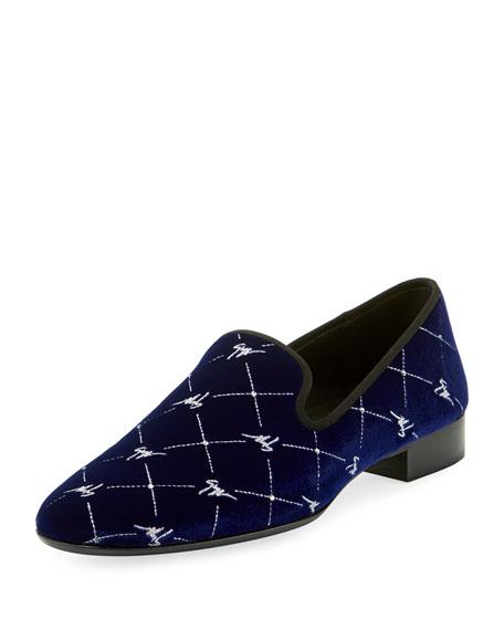 Giuseppe Zanotti Men's Logo-Beaded Velvet Formal Slippers