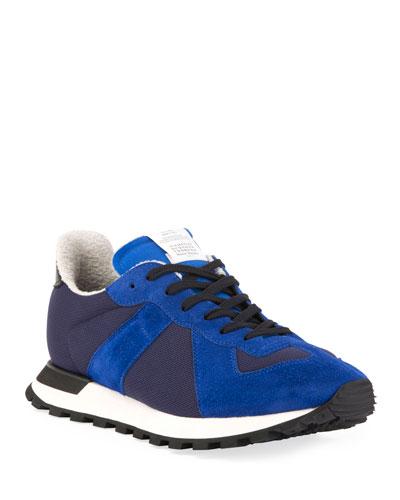 Men's Replica Nylon & Suede Runner Sneakers, Blue