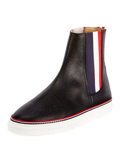 Men's Chelsea Leather High-Top Sneakers with Stripes