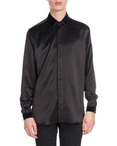 Men's Silk Shirt w/ Velvet Collar