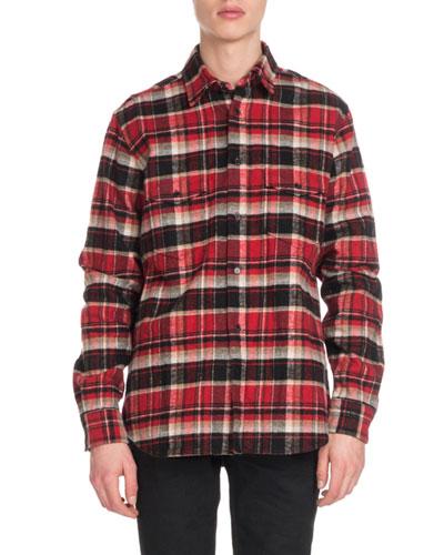 Men's Flannel Plaid Western Shirt