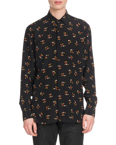 Men's Mickey Mouse Silk Sport Shirt