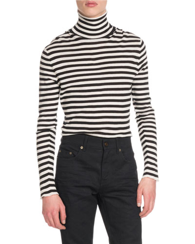 Men's Striped Intarsia Turtleneck Sweater