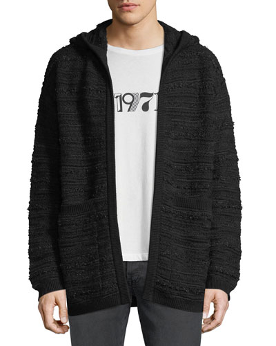 Men's Textured Hooded Cardigan