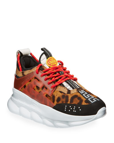 Men's Chain Reaction Greek Key-Print Sneakers, Leopard
