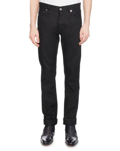 Men's Straight-Leg Cotton Jeans, Black