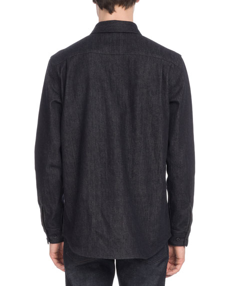 Men's Denim Cotton-Blend Cowl Shirt