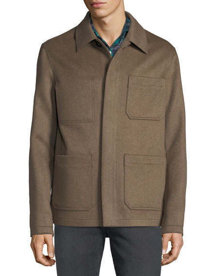 Men's Cashmere Button-Front Blouson Jacket