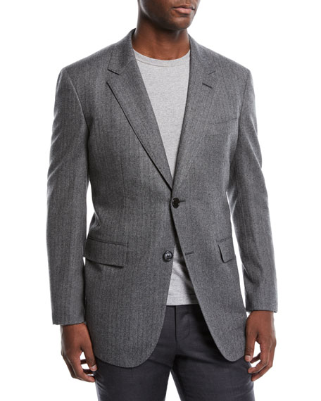 BERLUTI Men'S Two-Button Wool Herringbone Blazer in Lead