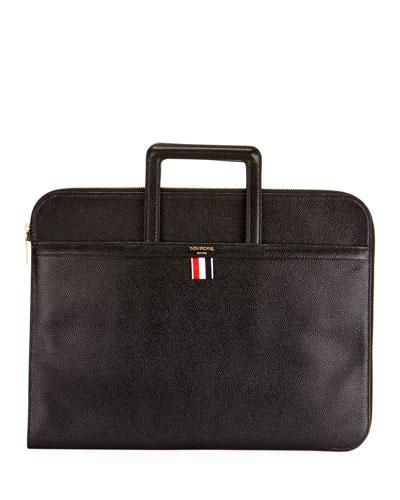 Men's Pebbled Leather Portfolio Case with Handles