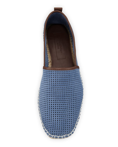 ed0397f1 Men's Perforated Suede Slip-On Espadrilles Light Blue