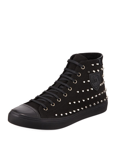 Men's Bedford Studded Suede High-Top Sneakers