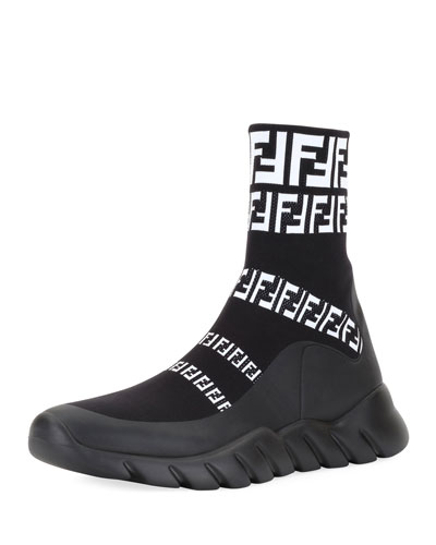 Men's FF Print Sock Boot Sneakers, Black