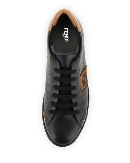 5ad26185 Men's FF Embroidered Leather Low-Top Sneakers