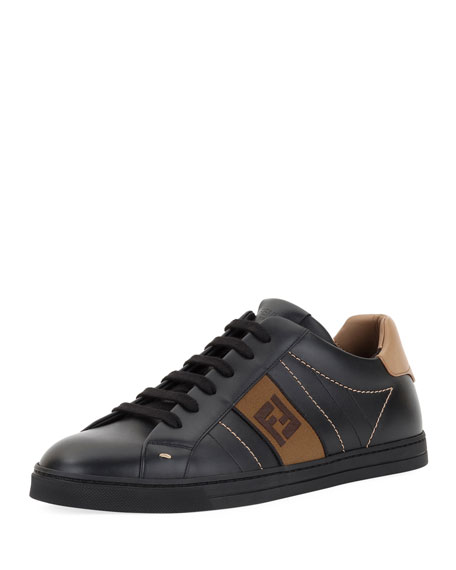 Fendi Men's FF Embroidered Leather Low-Top Sneakers