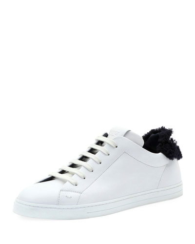 Men's Shearling-Lined Leather Low-Top Sneakers
