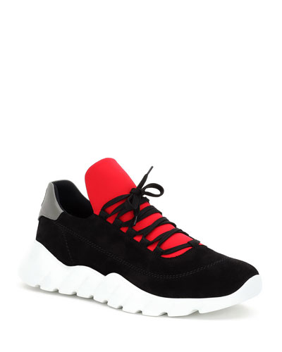 Men's Back-Detail Sporty Trainer Sneakers