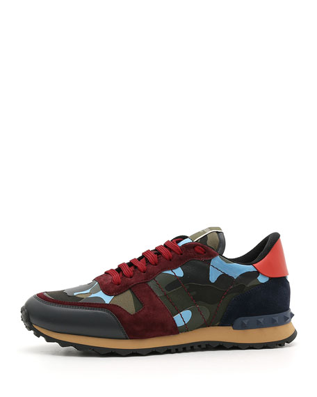 c7b0263504c7a Valentino Garavani Men's Rockrunner Camo Trainer Sneakers, Red/Blue