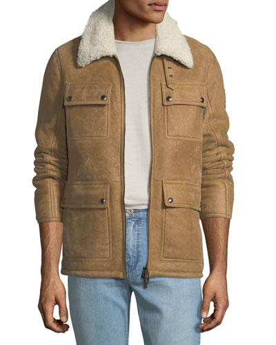 Men's Upland Shearling-Collar Lightweight Suede Jacket