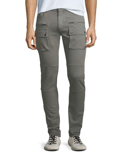 Men's Polmont Garment-Dyed Denim Skinny Cargo Jeans
