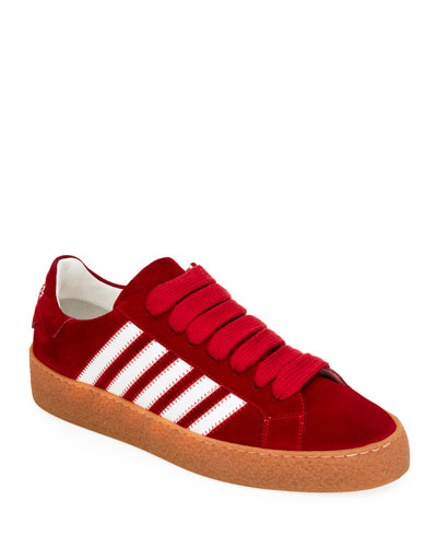 Men's Side-Stripe Suede Low-Top Sneakers