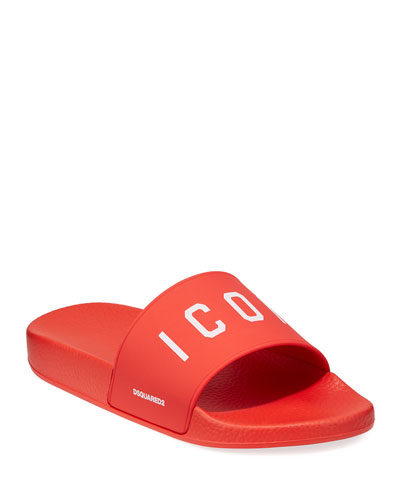 Men's Logo Rubber Slide Sandal, Red/White