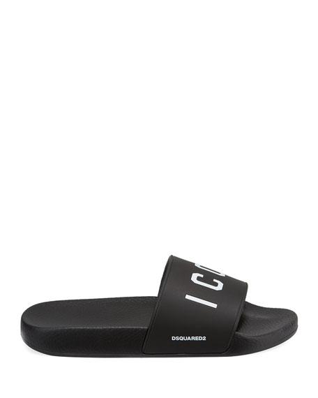 Men's Logo Rubber Slide Sandal, Black/White