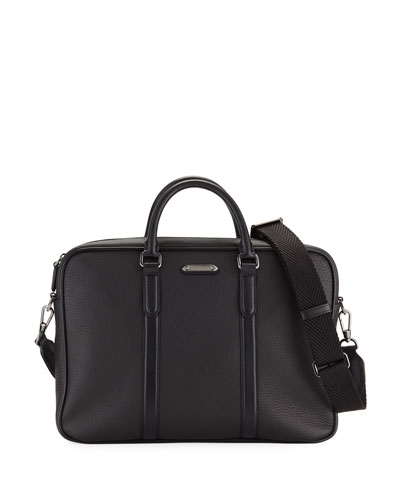 Men's Leather Briefcase with Pelle Tessuta ID Tag