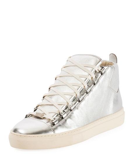 Balenciaga Men's Arena Metallic Leather High-Top Sneakers