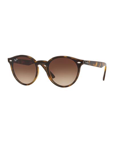 Men's Round Lens-Over-Frame Gradient Plastic Sunglasses