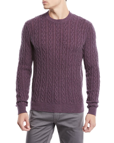 Men's Cashmere Cable-Knit Crewneck Pullover Sweater