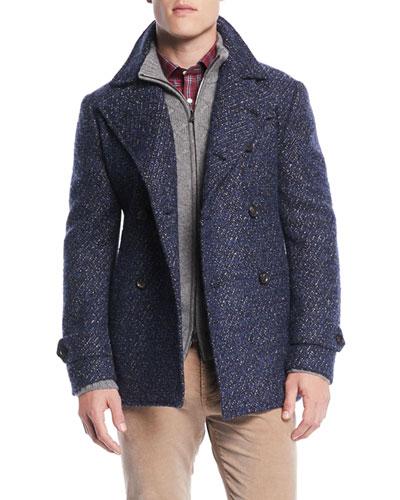 Men's Bouclé Wool-Blend Pea Coat